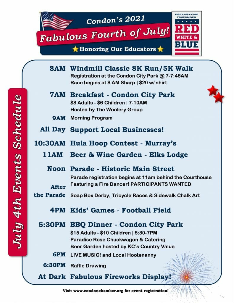 Condon 2021 July 4 Events Flyer