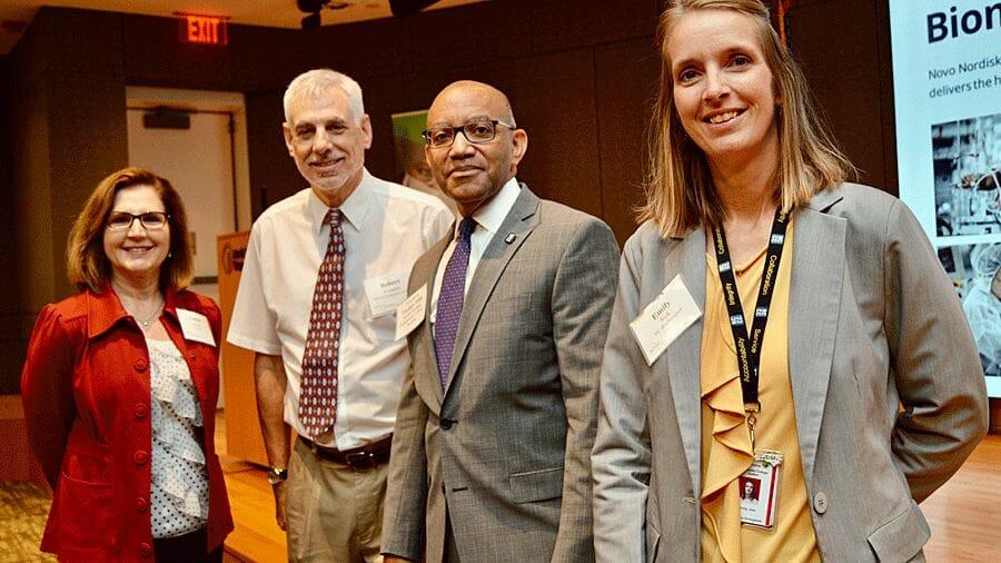 Laura Gunter, NCBIO; Robert Voissem, Taylor scholarship recipient; Thomas Stith, NC Community Colleges; Emily Sisk, NC BioNetwork