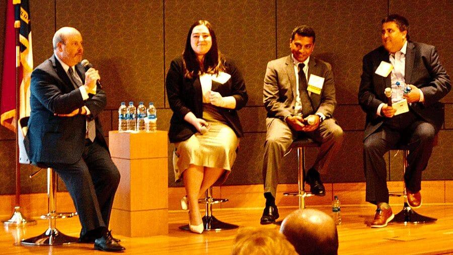 Joe Lanier, Milestone Strategies; Sophia McLeod, ACRO; and Hasan Shah, AdvaMed; Mike Mattoon, BIO