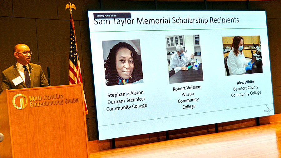 NC Community Colleges President Thomas Stith reveals the inaugural recipients of the Samuel M. Taylor Memorial Life Sciences Scholarships.
