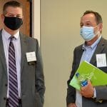 NCBIO board members Tom Fagley of Hughes Pittman & Gupton and Chris Capel of Smith Anderson