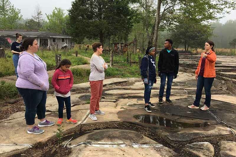 A group of community volunteers help clean and restore an outdoor area