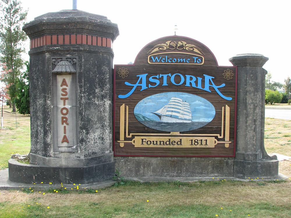 A sign greeting you as you enter Astoria, Oregon.