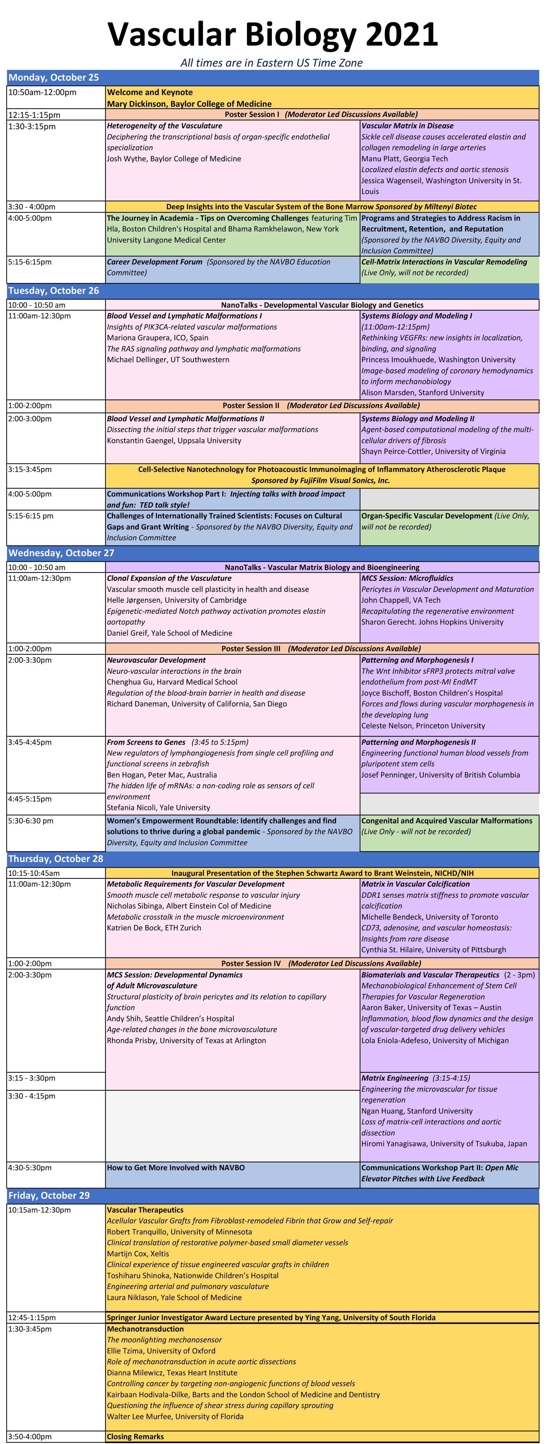 VB2021 Schedule