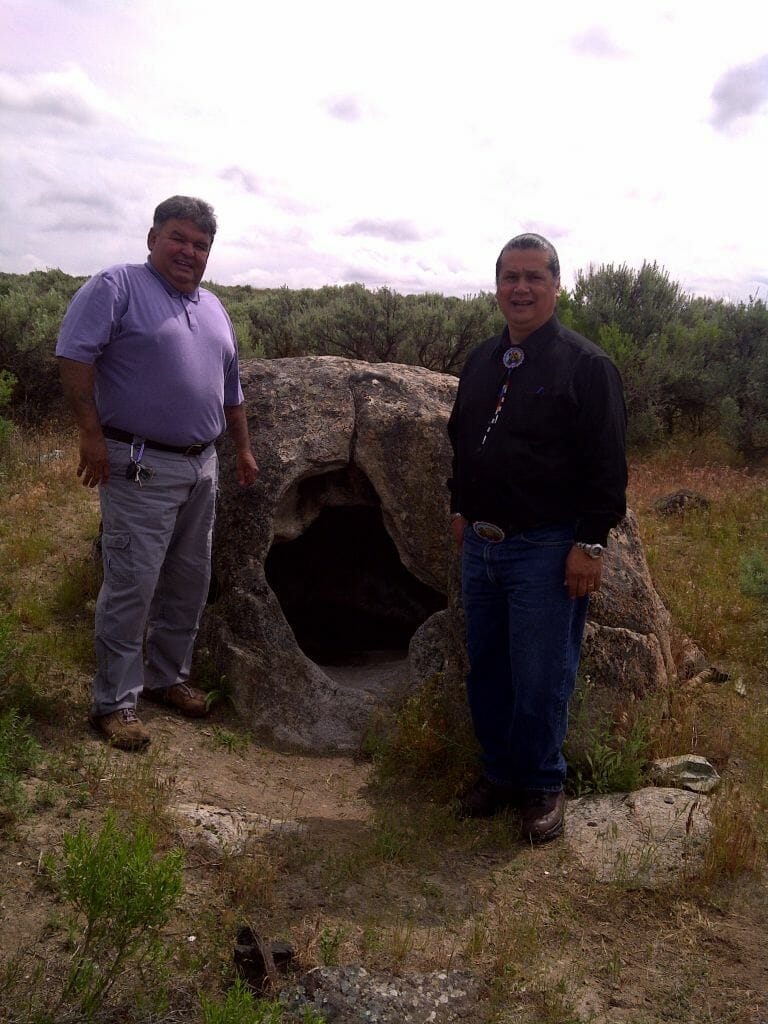 Two of our then Colville Business Council members (Andy Joseph Jr., on the right, is our current Tribal Chairman) at Coyote's Sweatlodge. Sweat bathing is for both physical and spiritual cleansing. Soap Lake, Washington