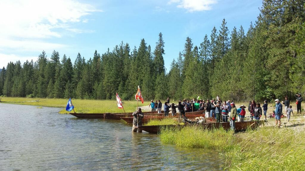 Canoe journey to Kettle Falls for youth development - tribal pride, establishing aboriginal rights for the snʕayckst (Arrow Lakes of Washington State and British Columbia) bringing Salmon back to the Upper Columbia River