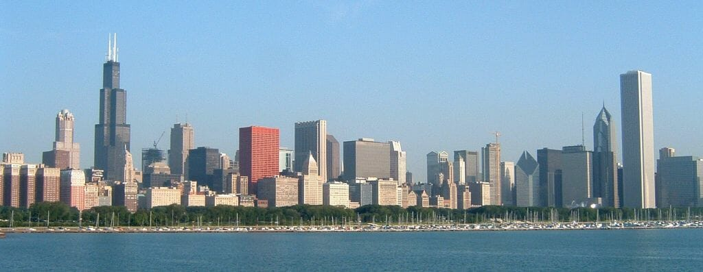 The Chicago skyline as seen from the Adler Planetarium