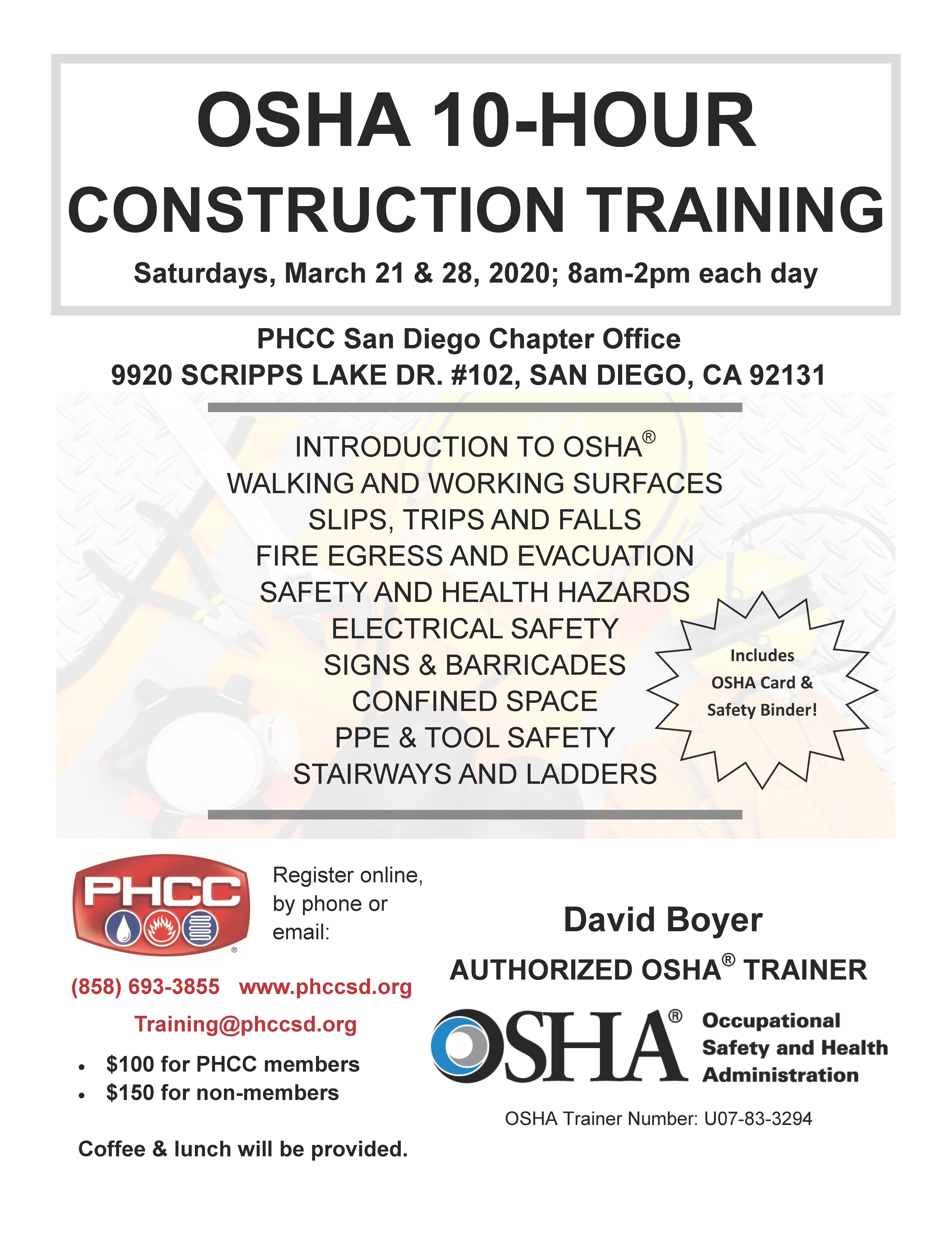 OSHA 10-Hour Construction Training at the PHCC Academy of San Diego