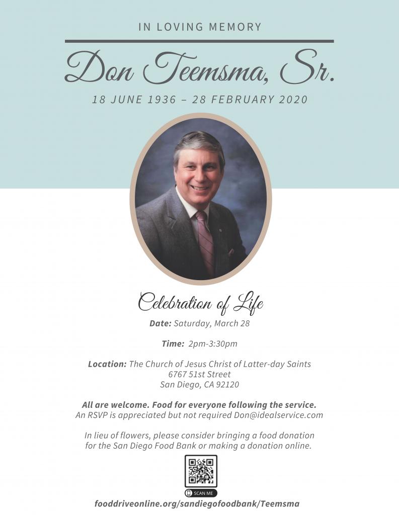 Celebration of Life for Don Teemsma, Sr.