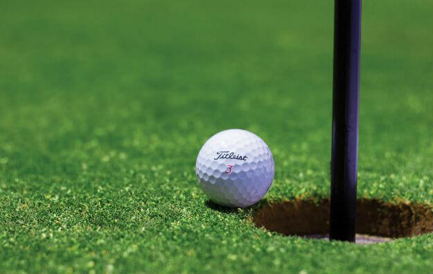 golf ball at the pin