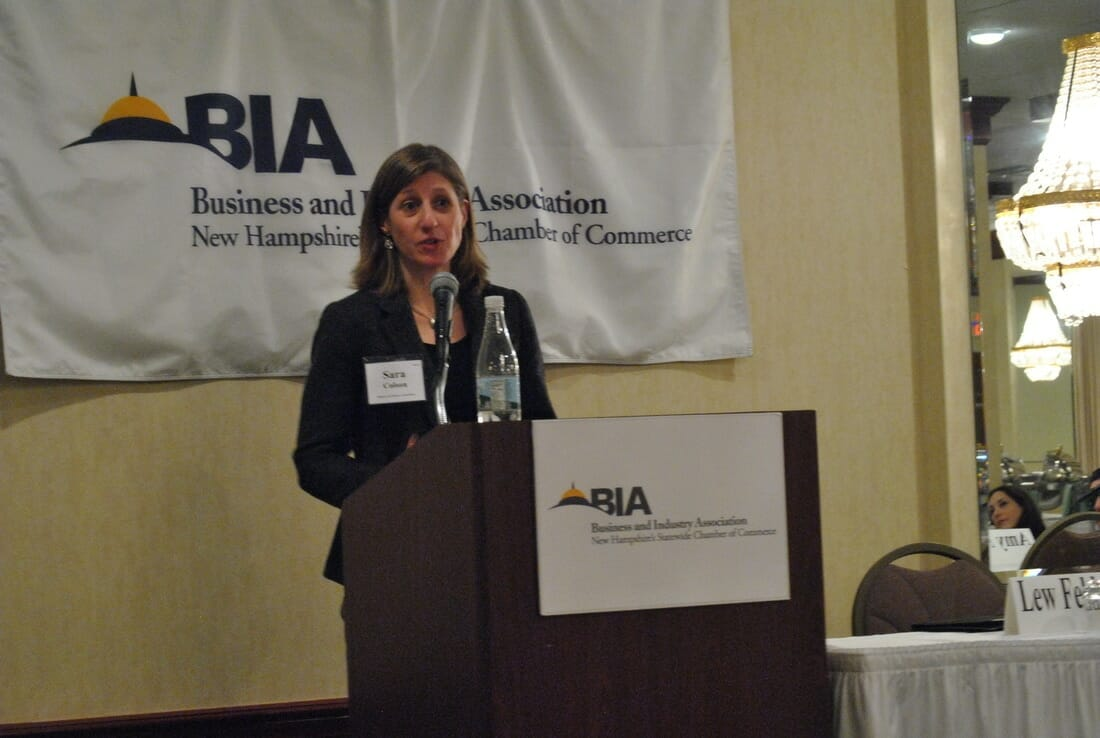 BIA Workforce Development Director Sara Colson addresses an audience of employers, educators, policy makers, and families to discuss the challenges of the current labor pool.