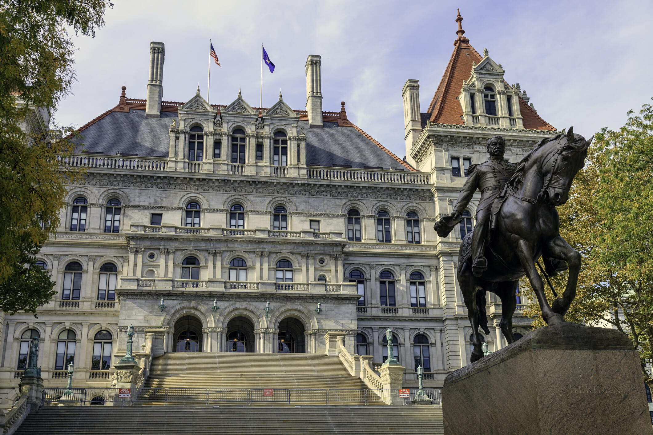 Union General Philip Sheridan stands guard at the front of the Albany NY State House.