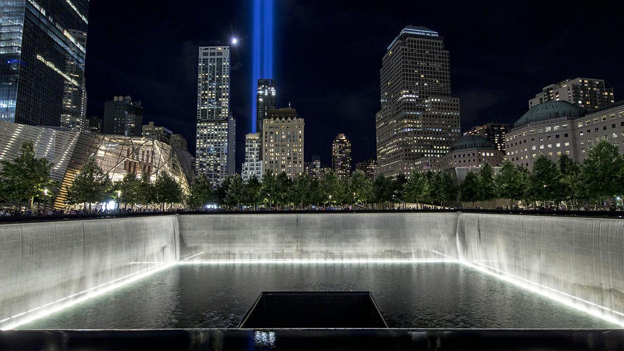 9/11 anniversary tribute in lights.