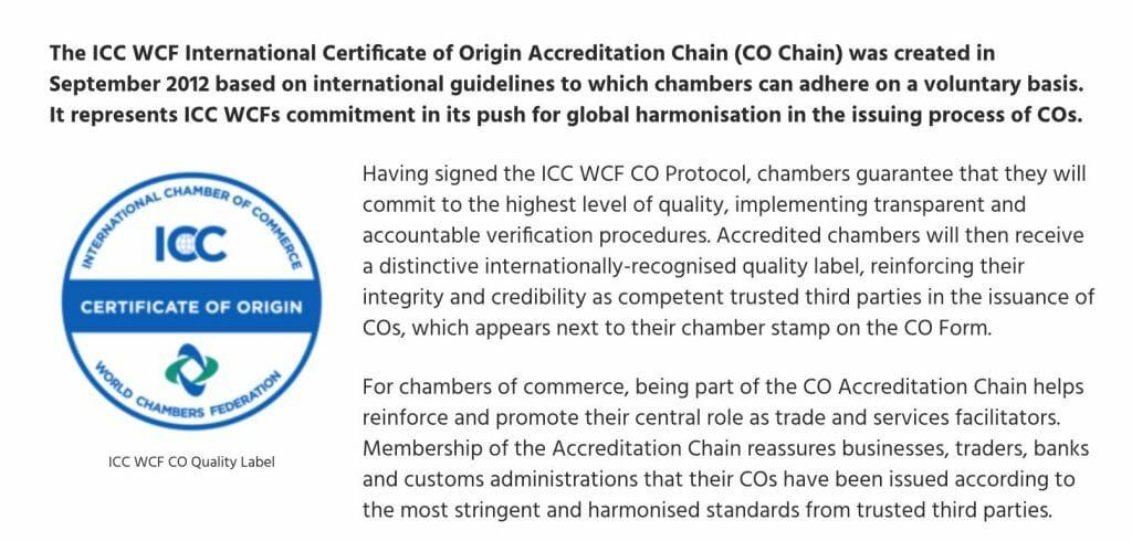 Certificate of Origin ICC
