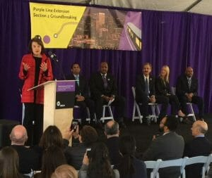 Speech at a podium