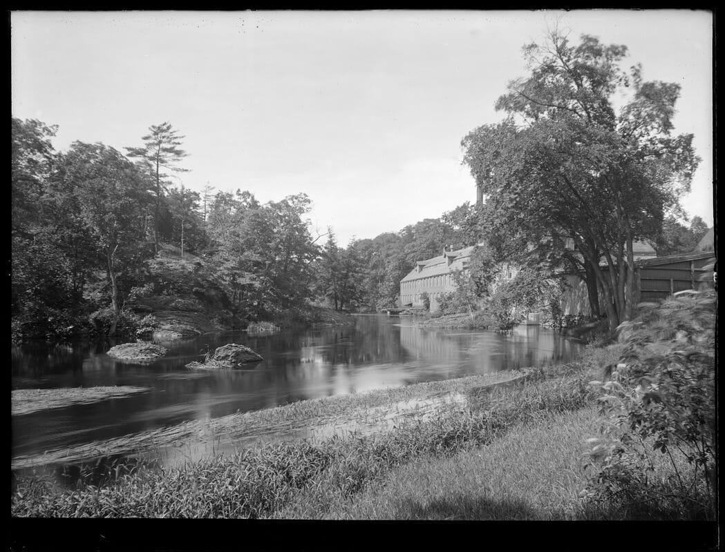 Sudbury Department, Sudbury Aqueduct, Charles River, looking downstream towards Echo Bridge, showing mill, Newton; Wellesley, Mass., Jul. 1, 1920