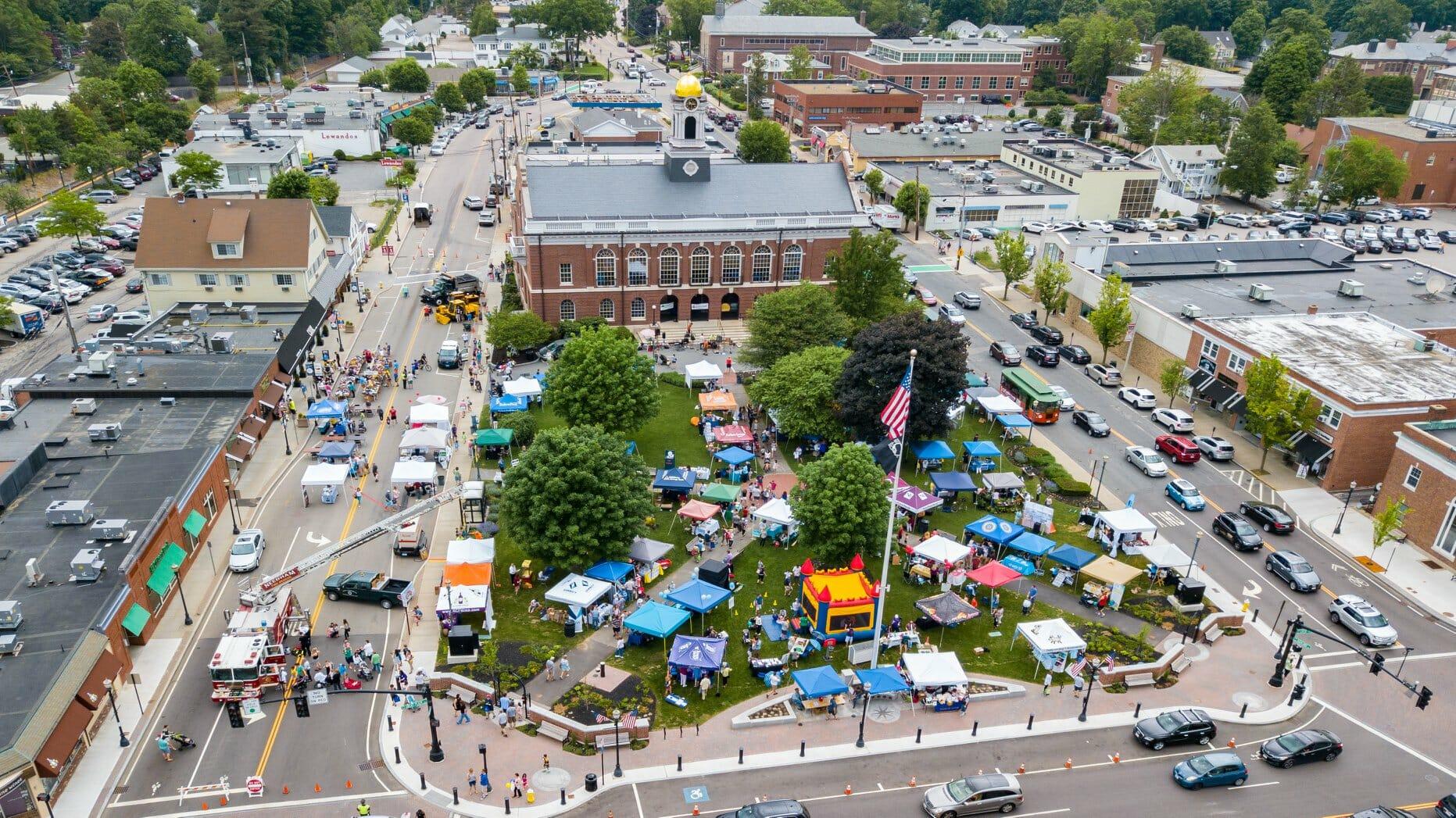 Ariel view of Needham Street Fair