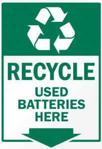 batteries recycle sign