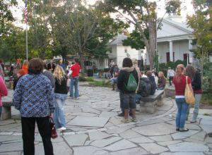 people in a plaza