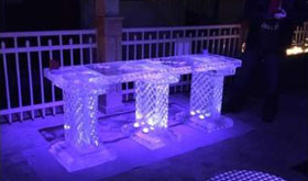 Ice bar on outside deck at night