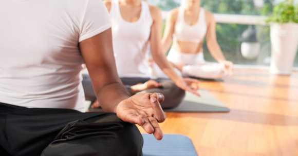 yoga class meditating