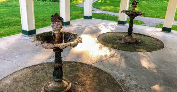 Saratoga mineral springs in a covered gazebo
