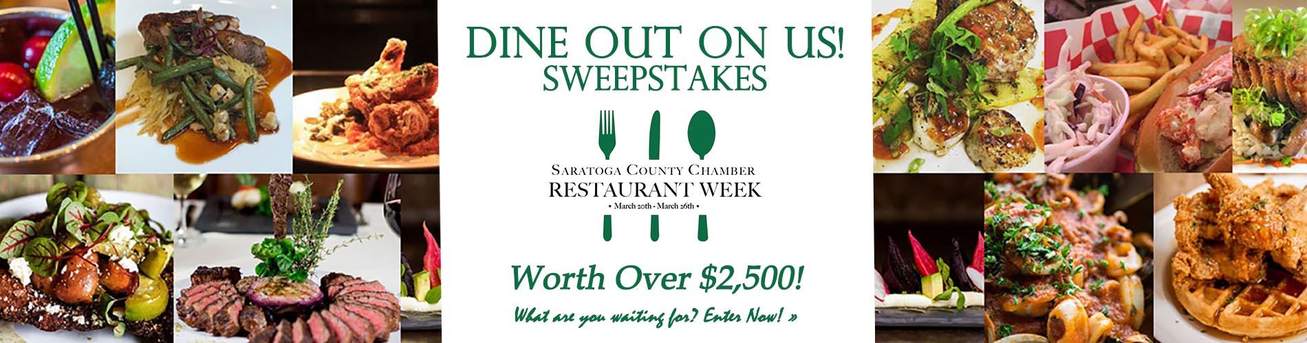 variety of plated food for restaurant week sweepstakes
