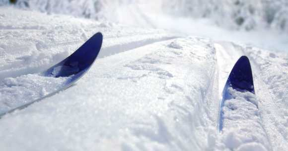 skier going down snowy slope