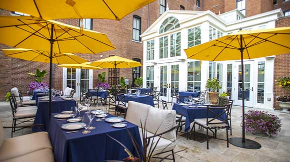 outdoor dining patio with tables and umbrellas