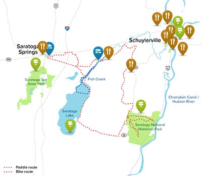 map of hiking biking and canal routes