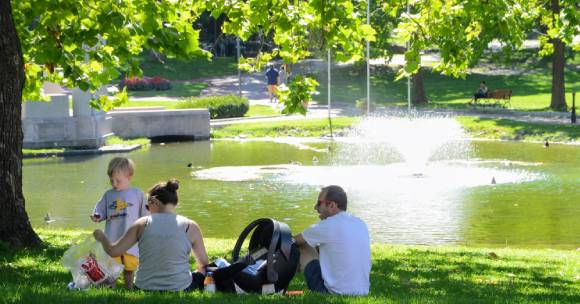 young family picnicing in a park