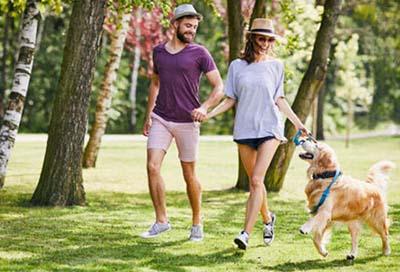 saratoga state park couple walking dog