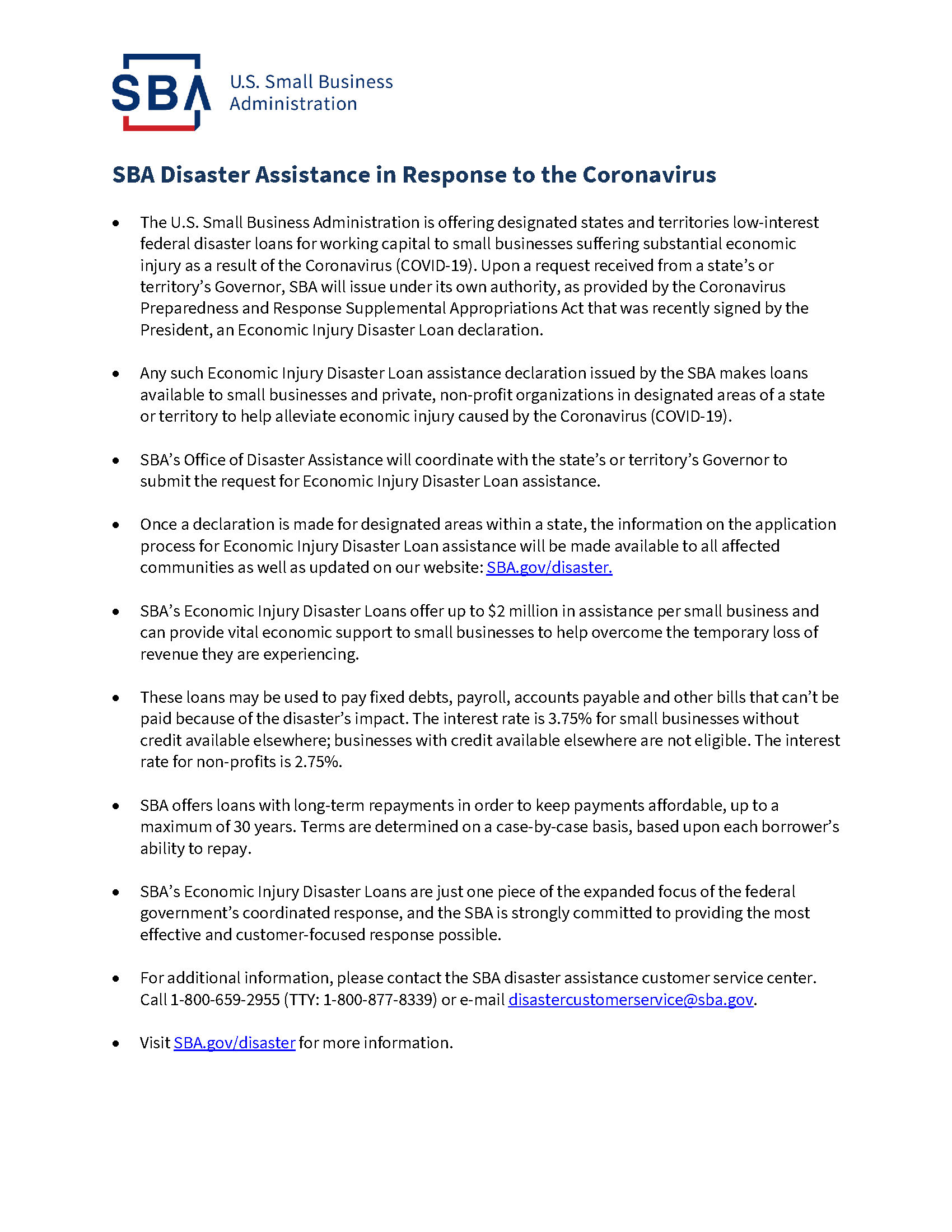 SBA disaster assistance P2