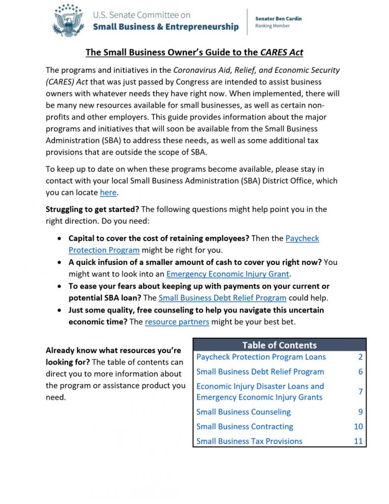 Sm Business CARES Guide 1