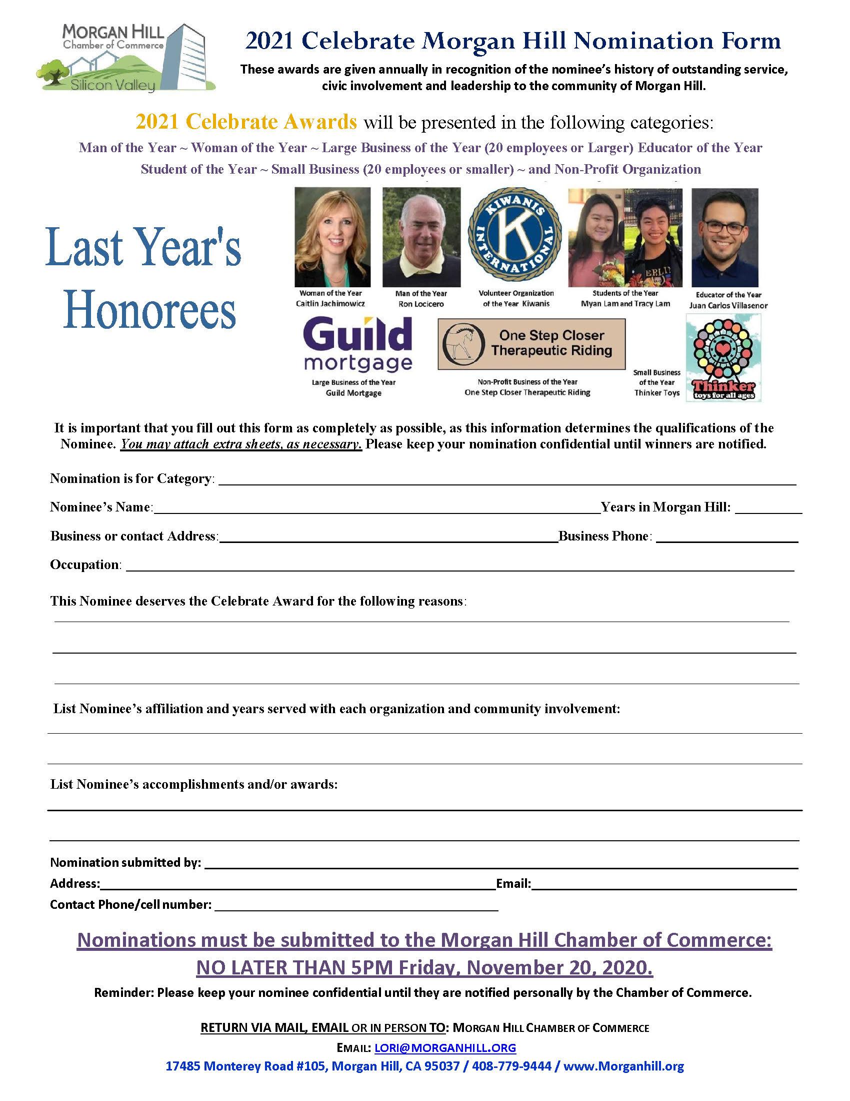 2021 Celebrate Nomination Form wphotos
