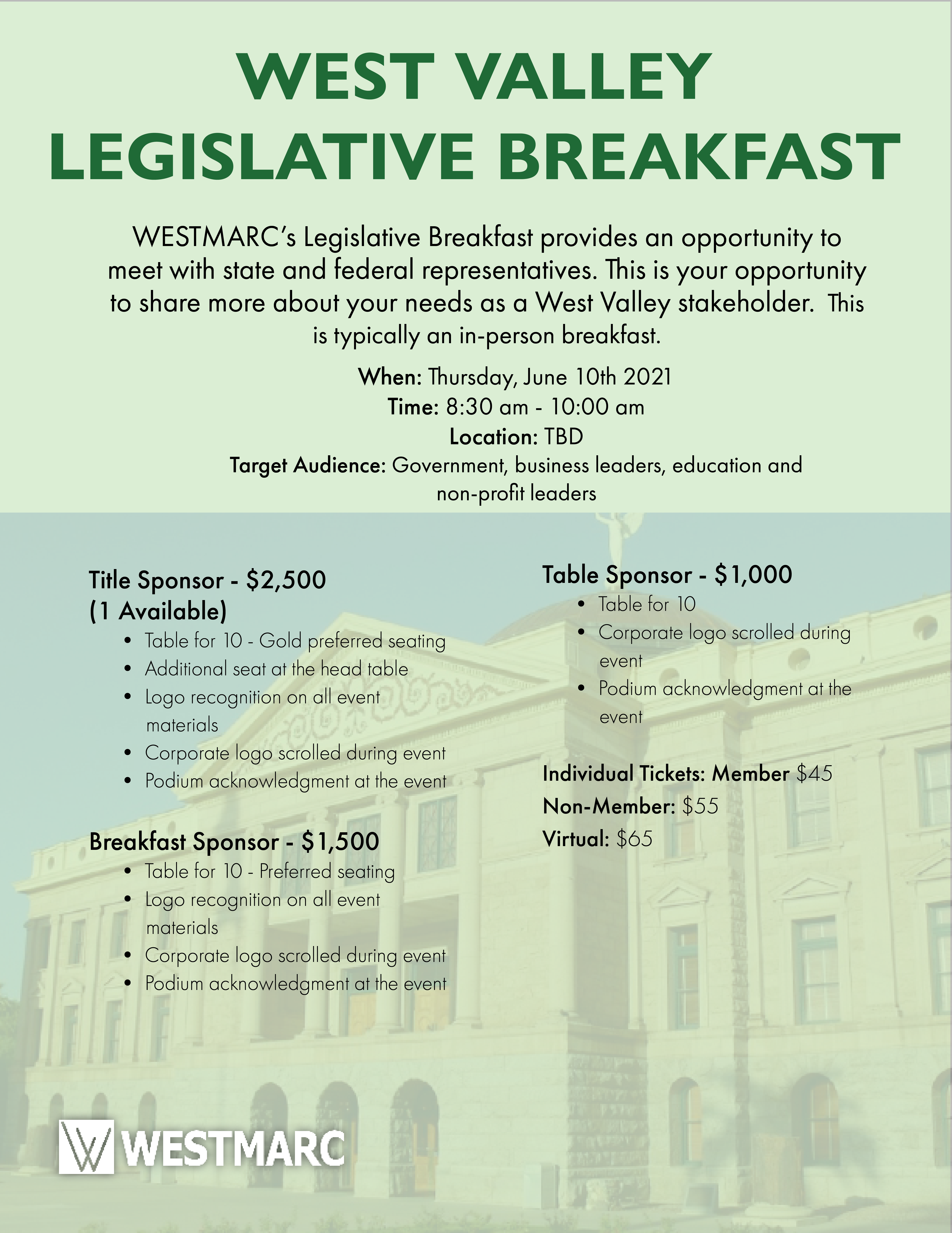 West Valley Legislative Breakfast