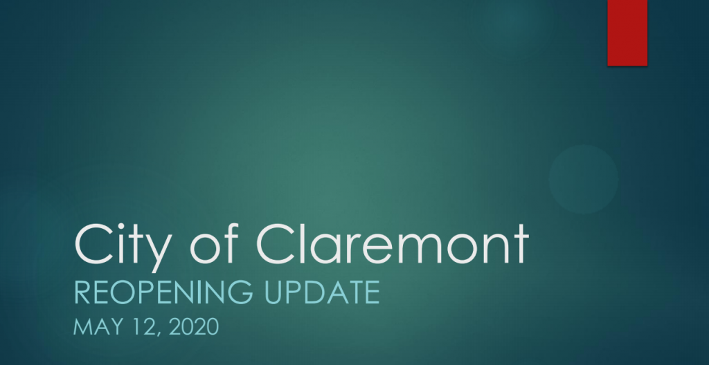 City of Claremont REopening Update
