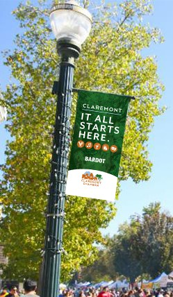 Sample of the Shop Claremont Banner on a Pole 2