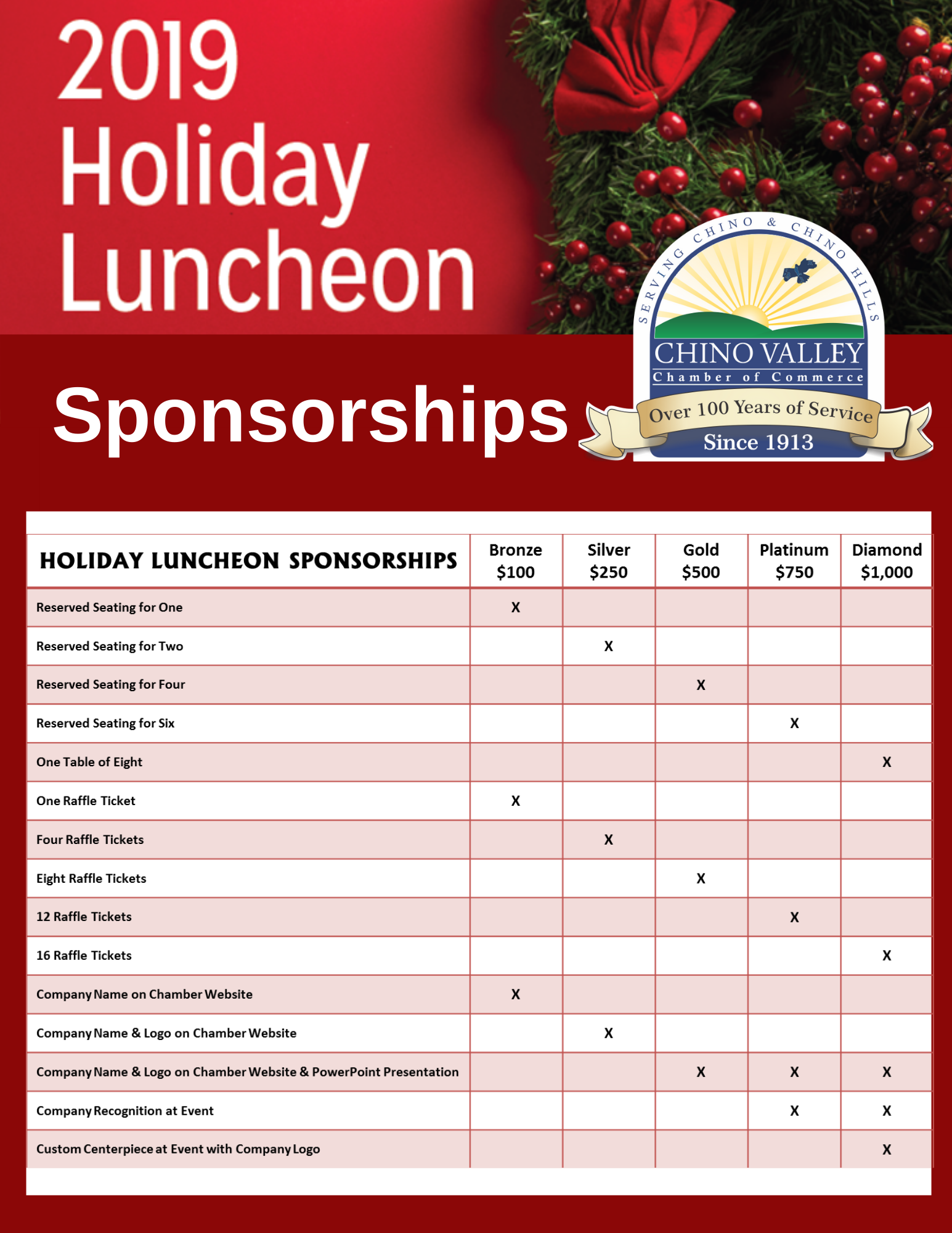 2019 Holiday Luncheon Sponsorships