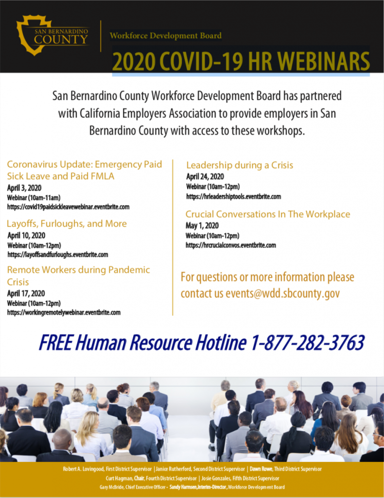 Workforce Development Board 2020 COVID-19 HR WEBINARS