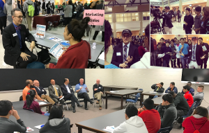 collage of images from the 2019 Rotary Career Night at Norcross High School. Business leaders communication with students about their jobs and how the prepared for them.