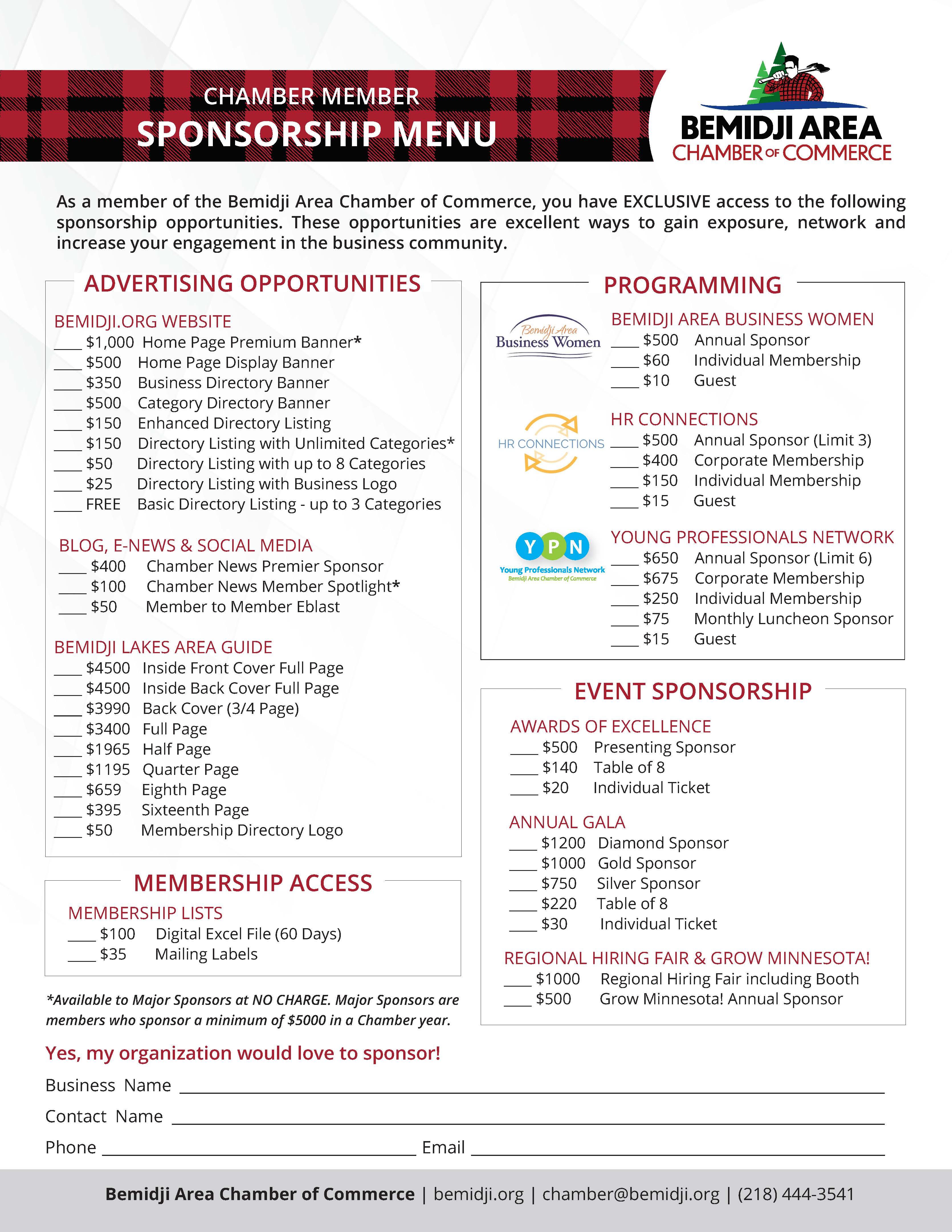 Bemidji Area Chamber Sponsorship Opportunities