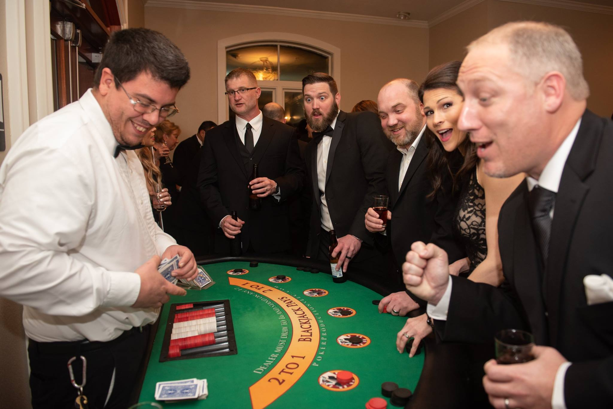 Players at the black jack table