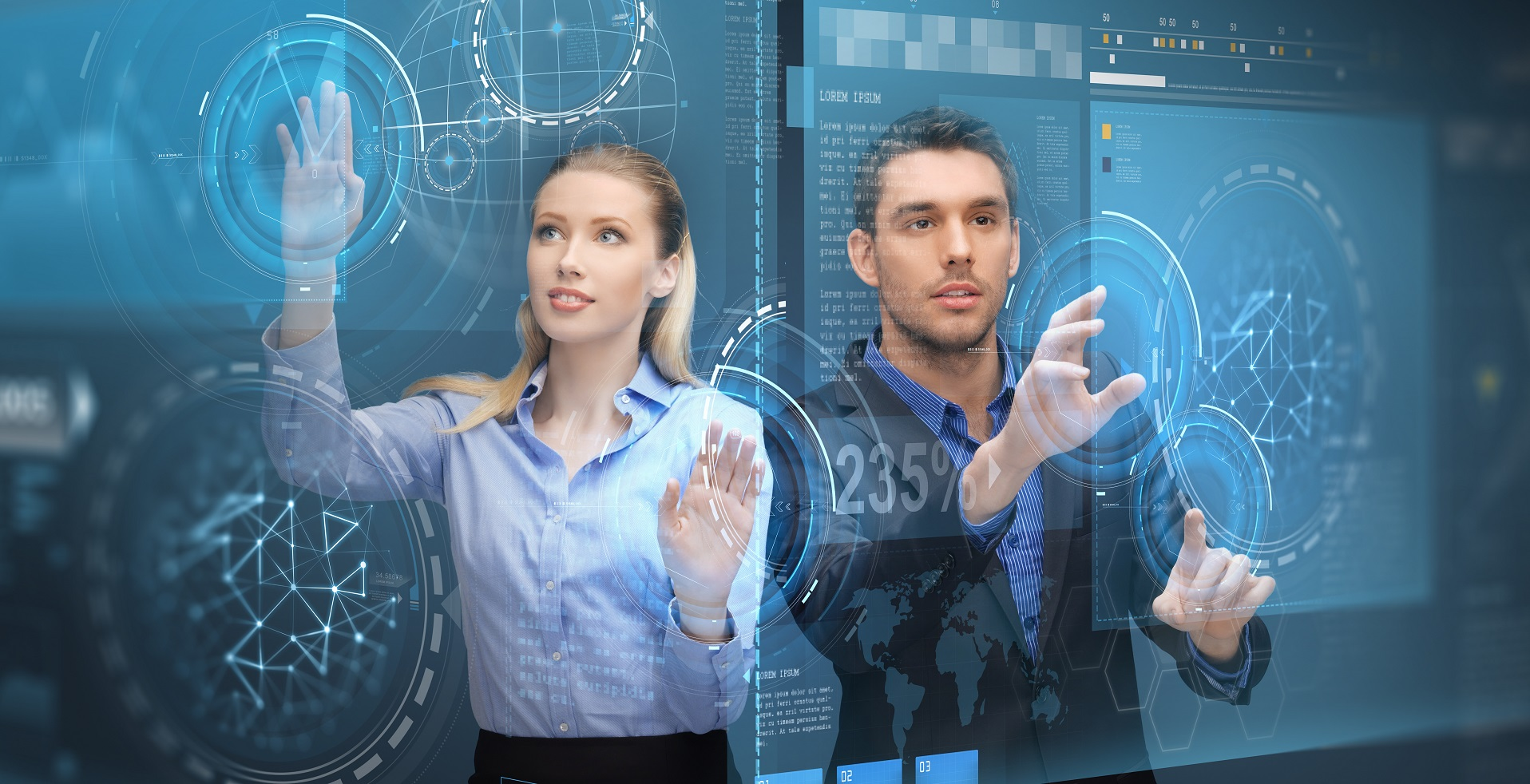 future technology, business and people concept - businessman and businesswoman using virtual screen projections