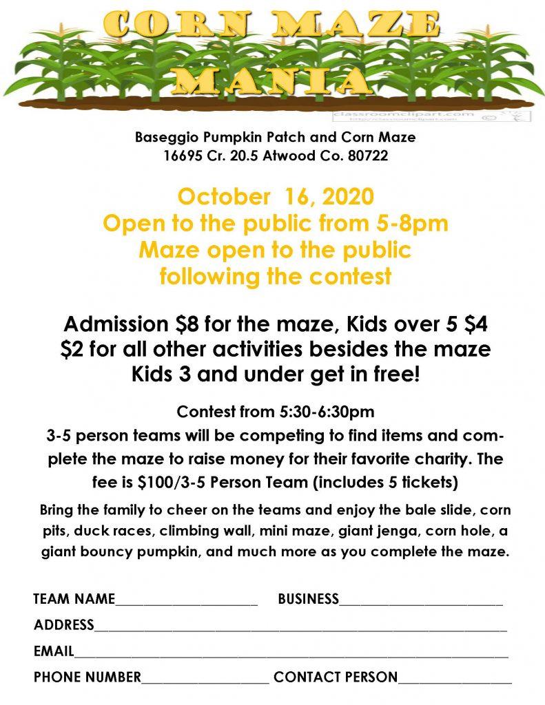 2020 Corn Maze Mania Flyer
