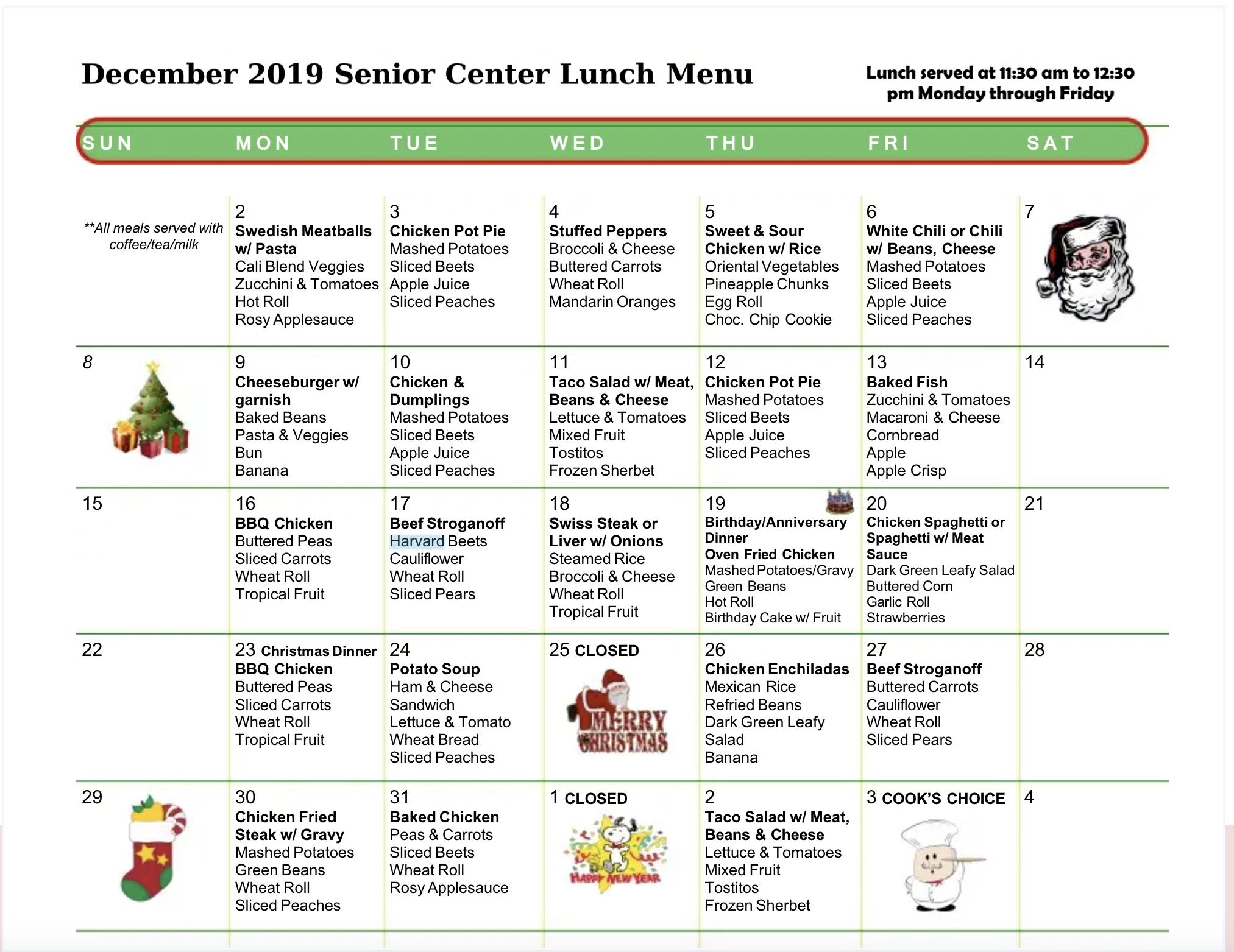 senior menu december