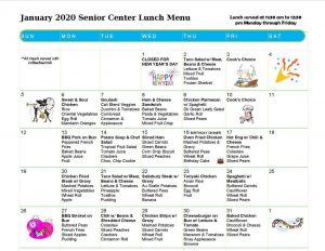 January 2020 senior menu