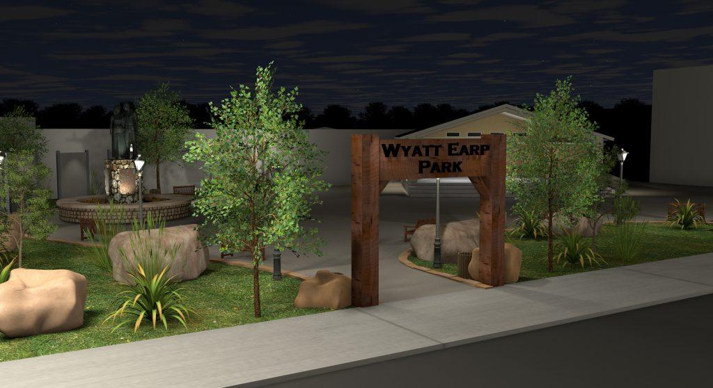 Lamar Missouri - Future Wyatt Earp Park Entrance at Night Renderings