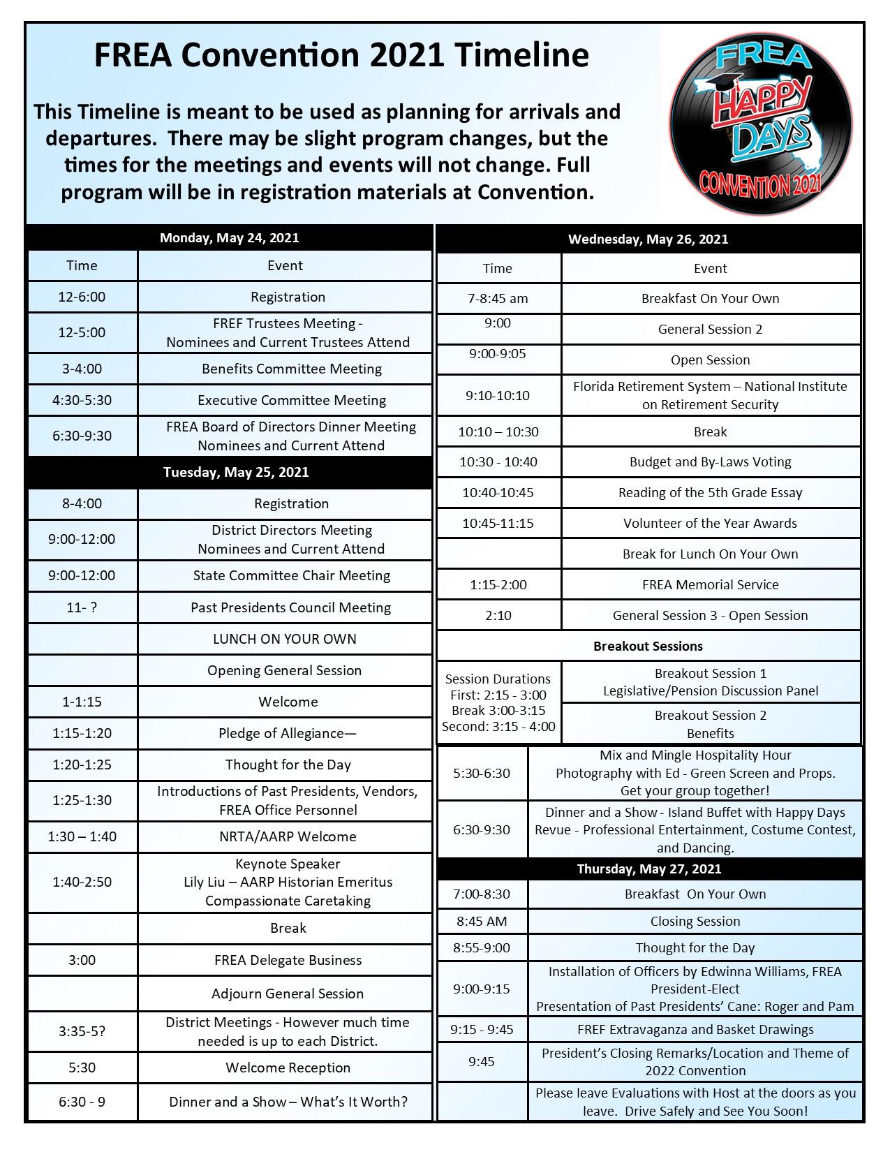 FREA 2021 Convention Timeline Website