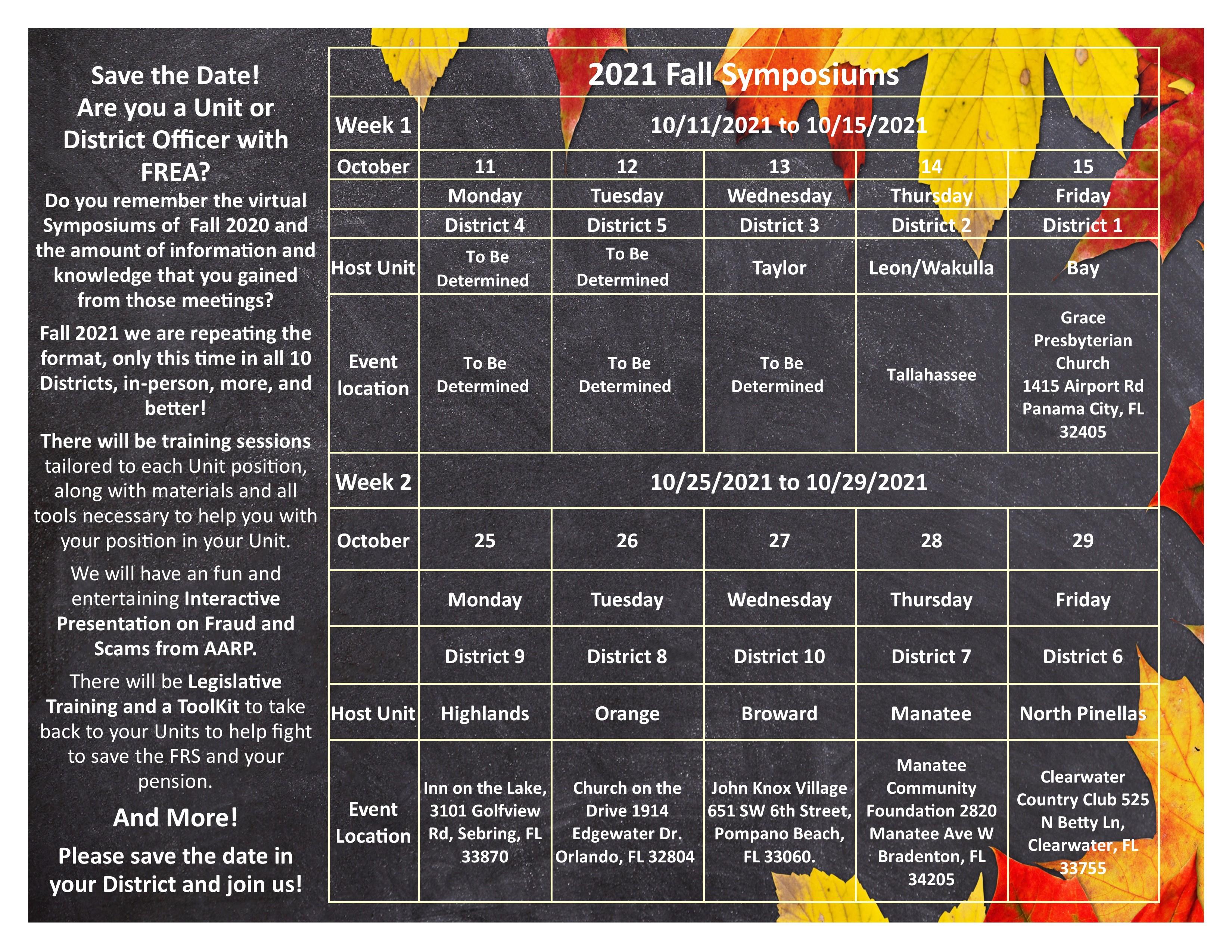 Symposium Calendar 2021